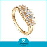 Plata chapada en oro 24k 925 de clúster de la boda el anillo (SH-0462)