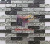 Gris y negro mezclados Strp de cristal azulejos de mosaico (CFS695)