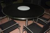 Круглый открытый обеденный стол с закаленным стеклом и металлические штыри