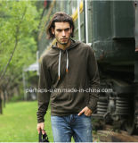 Новый Mens Hoodies хлопка Slub типа с кнопкой Placket