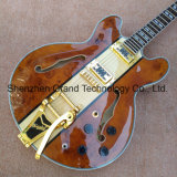 Haut de l'érable en or de Jazz de corps creux du matériel 335 guitare électrique avec système de trémolo (TJ-243)