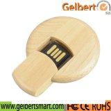 De ronde Houten Flits van het Embleem USB van de Gravure voor Gift Weding