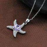 Fábrica de profesional de joyería Diamante CZ Starfish colgante, collar de metal