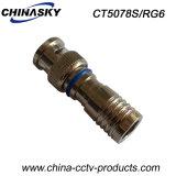 Wasserdichter Stecker der CCTV-männlicher Komprimierung-BNC für Kabel RG6 (CT5078S/RG6)