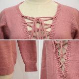 Maglione dentellare Lace-up del pullover del V-Collo delle donne