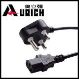 Plugue elétrico da potência de India com o plugue do cabo elétrico de plugue de potência 16A do Pin do IEC C13 África do Sul 3 do cabo de potência 250V