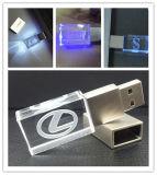 Hot Sell Custom Laser Engrave 3D Logo Crystal USB Flash Drive com diferentes cores LED Light