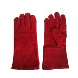 14 pulgadas de guantes de soldadura de cuero rojos