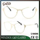 Nouvelle conception des verres de lunettes optiques Lunettes de métal du châssis pour dame et les femmes de couleur double