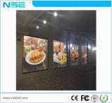 P10mm Shopping Mall Publicidade Janela de vidro transparente de parede LED