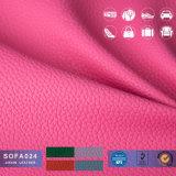 Grãos Lichee Semi PU/PVC para mobiliário sofá de couro