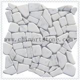 China White Carrara blanco ventilador / Mosaico de mármol redondo de patrón
