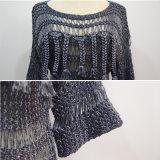 Mujeres 3/4 alineada del suéter de la franja de la manera de la funda