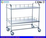 Carretilla médica de la aplicación del tratamiento en abanico del acero inoxidable de los muebles del hospital