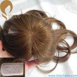 Rubia de pelo humano virgen puro de cierre de la parte superior de la mujer