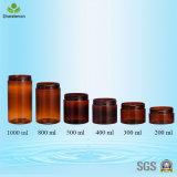 vaso crema di plastica ambrato 400ml con i coperchi di alluminio per imballaggio cosmetico