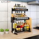 Ahorro de espacio de 3 niveles soporte negro botella Jar titular de la bandeja de Acero Inoxidable Especiero