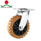 Roulement à billes à double usage intensif de flamme Roulette polyuréthane, PP Core avec couvercle en acier roulette