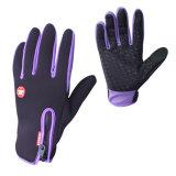 Перчатки Bike перчаток водоустойчивого противоюзового спорта экрана касания ватки закрепленности застежки -молнии регулируемого теплого задействуя пурпуровые для женщин