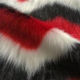 빨간 까만 백색 자카드 직물 긴 더미 견면 벨벳 가짜 모피