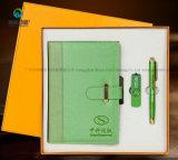 Kundenspezifisches Jahrestags-Geschenk-Geschäfts-Notizbuch-Geschenk stellte mit Kugel-Feder und USB ein