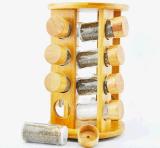 Cremagliera di bambù impostata vasi di ceramica amichevoli della spezia della cucina di Eco