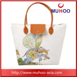 Flor elegante bolso bolso de lona de algodón/bolsa de compras para damas
