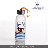 300ml a coloré la bouteille d'eau en verre estampée avec le logo personnalisé
