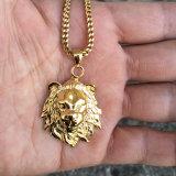 Collana Pendant della testa del leone placcata oro di Hip Hop 24K per l'uomo della roccia