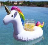 Portée gonflable de cuvette de boissons de PVC de modèle de licorne pour l'usager de syndicat de prix ferme