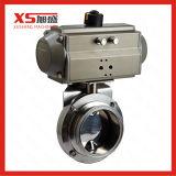 Medidas sanitarias l abrazadera de puerto de la válvula de bola con actuador neumático