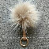 Pompom poco costoso dell'anello portachiavi della sfera della pelliccia del Faux di Keychain del Pompom
