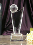 Het Schild van de Toekenning van de Trofee van het Glas van het kristal met het Embleem van het Af:drukken van de Kleur