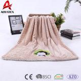 Cobertor coral do bebê do velo de China da fábrica geral do poliéster com Applique