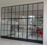 Puertas de entrada exteriores de doble del hierro labrado del diseño con el vidrio Tempered