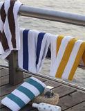 Полотенце пляжа белой и голубой хлопка нашивки горячего надувательства изготовленный на заказ