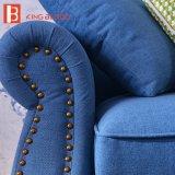 Il sofà di tela blu superiore d'angolo modulare del tessuto del salone americano ha impostato con l'ottomano del Chaise