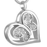 Bianco/nero/pendente commemorativo di cristallo dentellare dell'urna dell'acciaio inossidabile del cuore della farfalla