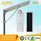 160lumen/Watt 30W 고성능 원격 제어를 가진 LED 한세트 통합 태양 가로등