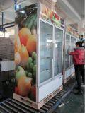 Refrigerador frio vertical do gabinete de indicador da bebida das portas de vidro de deslizamento (LG-1000BFS)