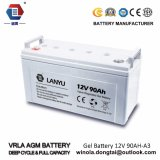 Lanyu selou a bateria solar acidificada ao chumbo de bateria 12V 90ah