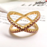 Ring van het Bergkristal van CZ van het Gouden Plateren van de Stenen van de manier de Kleurrijke 14K Roze