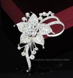 Brooches a cristallo del fiore romantico per le donne che Wedding ed i perni nuziali dei Brooches del Rhinestone dell'argento del vestito da partito