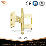Dobradiças de bronze da mobília da ferragem da porta de entrada com cabeça de coroa (HG-1054)