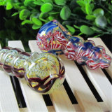 Tubulação de vidro da colher da tubulação colorida de vidro de vidro da mão do tabaco da tubulação de água da tubulação
