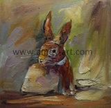 壁の装飾のための卸し売りハンドメイド動物のキャンバスの絵画ウサギ