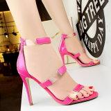Tamanho aberto 34-39 das cores das sandálias oito da cavidade do dedo do pé do material do plutônio da sandália do salto elevado das mulheres