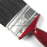 Cepillo de pintura negro de la cerda con la maneta plástica roja