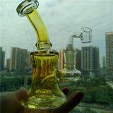Colores de la venta al por mayor tres que fuman el mini tubo de agua de cristal de la plataforma petrolera con la junta de 14.4m m