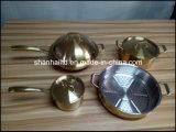 Ouro Titanium tripla todo o jogo folheado do Cookware do aço 7PCS